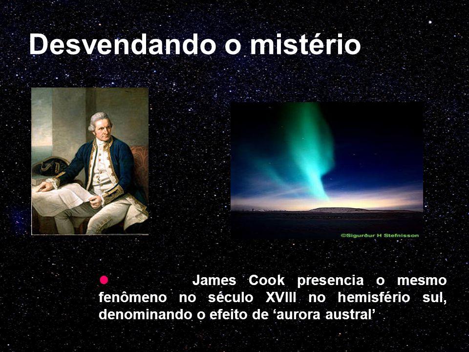 Desvendando o mistério James Cook presencia o mesmo fenômeno no século XVIII no hemisfério sul, denominando o efeito de 'aurora austral'