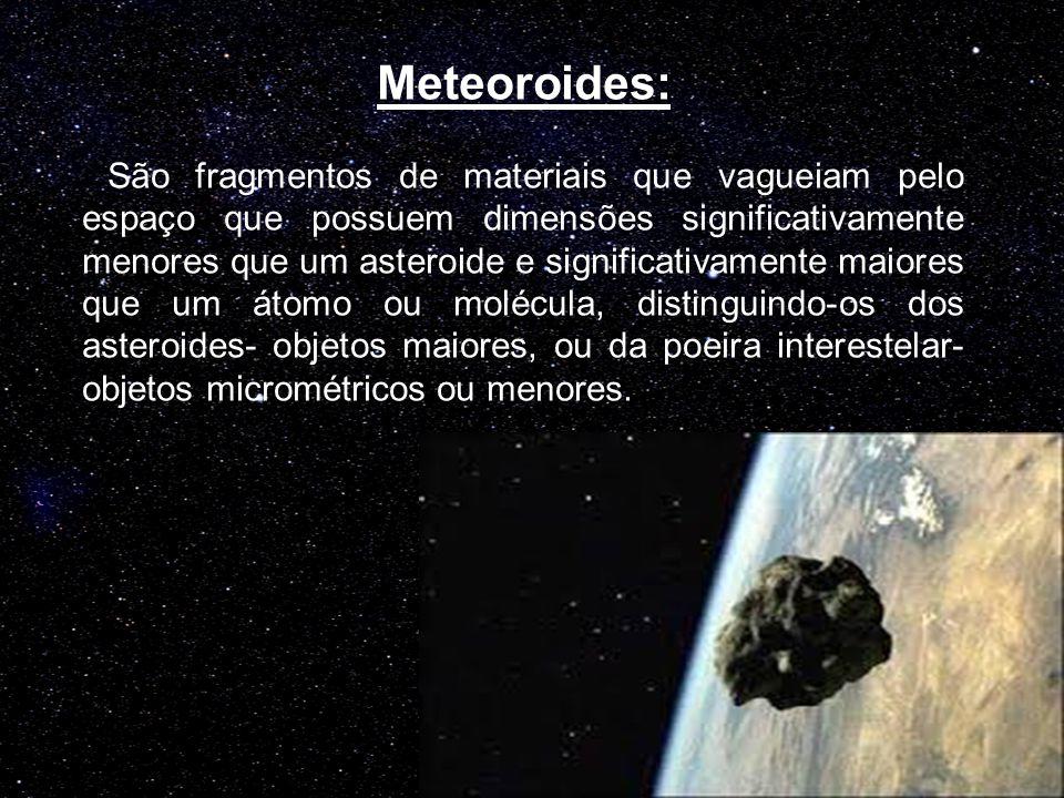 Meteoroides: São fragmentos de materiais que vagueiam pelo espaço que possuem dimensões significativamente menores que um asteroide e significativamen
