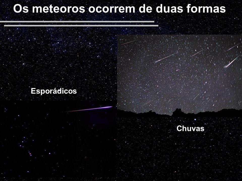 Os meteoros ocorrem de duas formas Chuvas Esporádicos