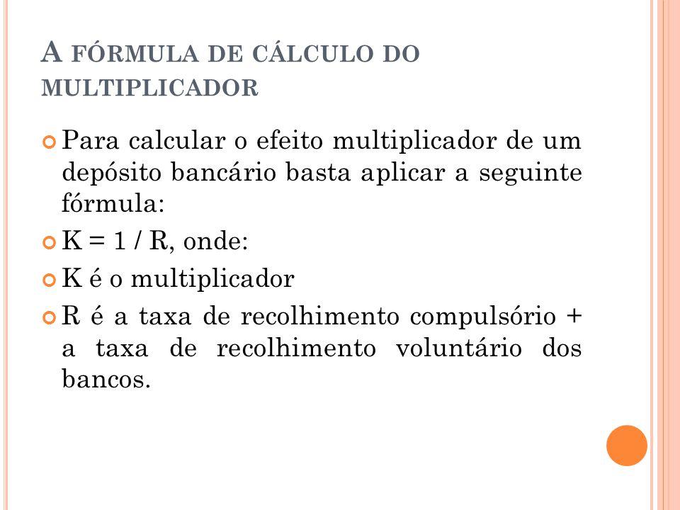 A FÓRMULA DE CÁLCULO DO MULTIPLICADOR Para calcular o efeito multiplicador de um depósito bancário basta aplicar a seguinte fórmula: K = 1 / R, onde: