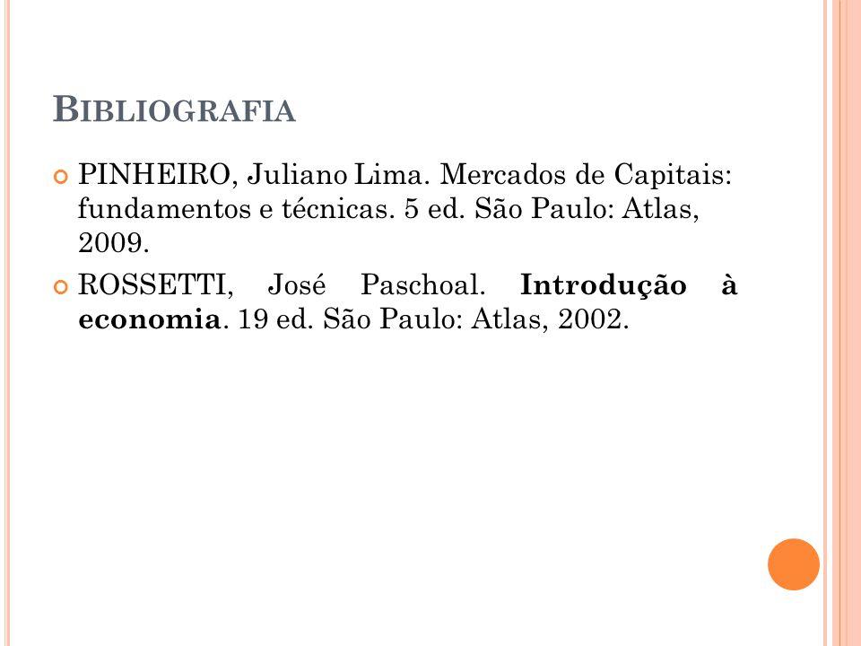 B IBLIOGRAFIA PINHEIRO, Juliano Lima. Mercados de Capitais: fundamentos e técnicas. 5 ed. São Paulo: Atlas, 2009. ROSSETTI, José Paschoal. Introdução