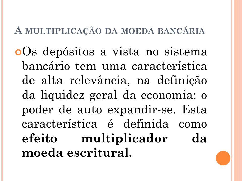 A MULTIPLICAÇÃO DA MOEDA BANCÁRIA Os depósitos a vista no sistema bancário tem uma característica de alta relevância, na definição da liquidez geral d