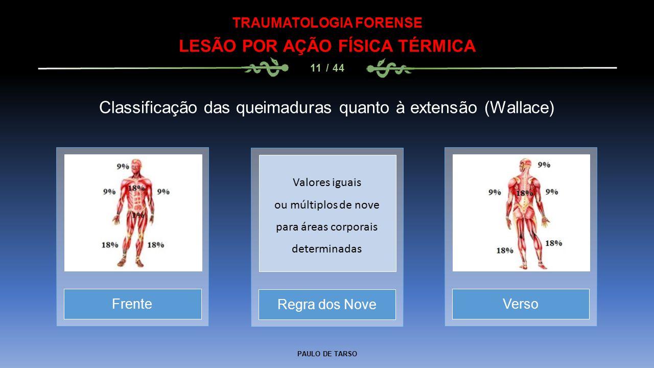 PAULO DE TARSO TRAUMATOLOGIA FORENSE LESÃO POR AÇÃO FÍSICA TÉRMICA 11 / 44 Classificação das queimaduras quanto à extensão (Wallace) Regra dos NoveFre