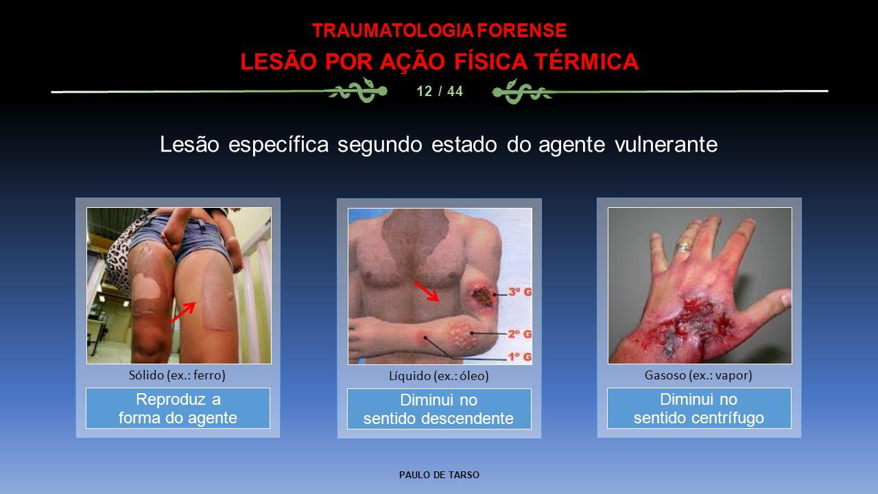 PAULO DE TARSO TRAUMATOLOGIA FORENSE LESÃO POR AÇÃO FÍSICA TÉRMICA 12 / 44 Lesão específica segundo estado do agente vulnerante Diminui no sentido des