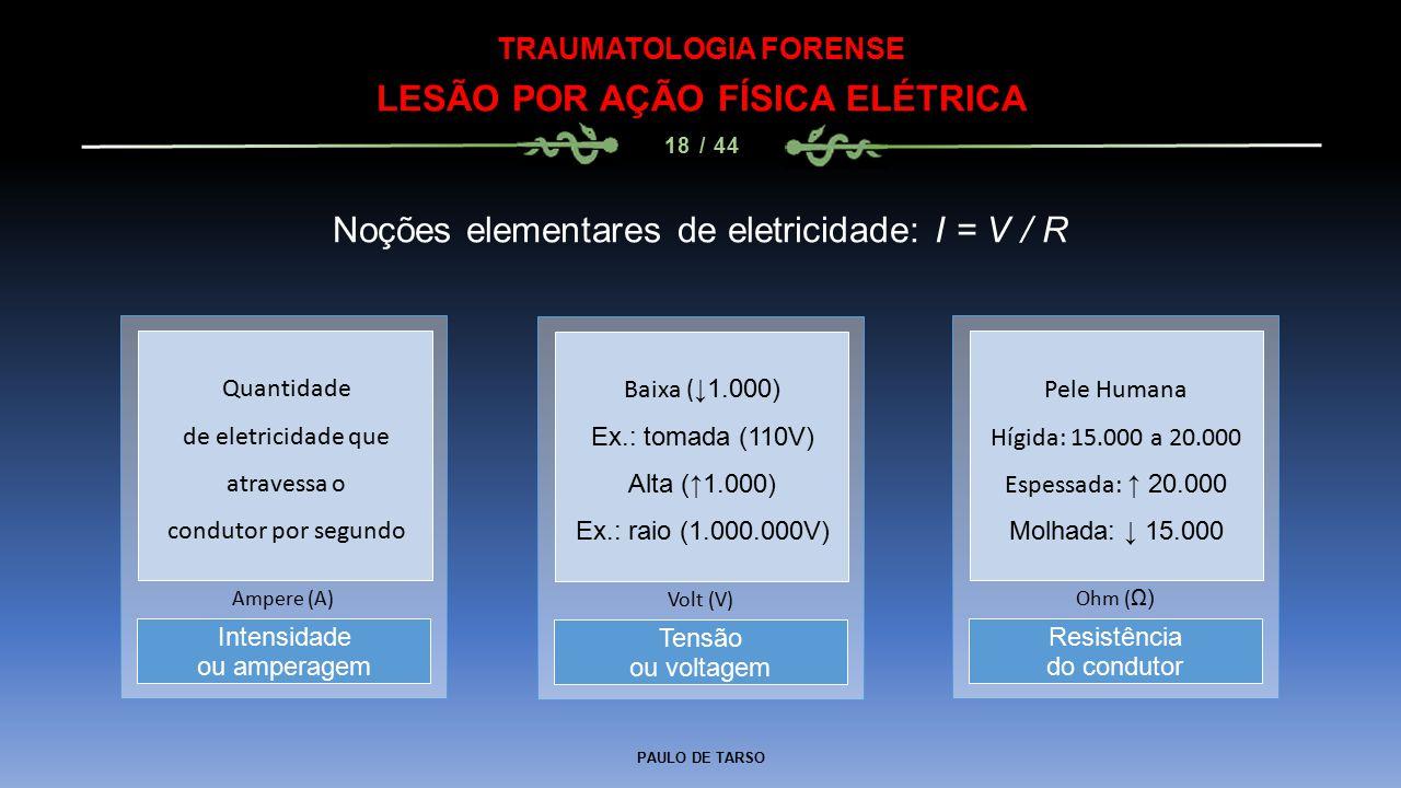 PAULO DE TARSO TRAUMATOLOGIA FORENSE LESÃO POR AÇÃO FÍSICA ELÉTRICA 18 / 44 Noções elementares de eletricidade: I = V / R Tensão ou voltagem Volt (V) Intensidade ou amperagem Ampere (A) Resistência do condutor Ohm ( Ω) Quantidade de eletricidade que atravessa o condutor por segundo Baixa ( ↓1.000) Ex.: tomada (110V) Alta (↑1.000) Ex.: raio (1.000.000V) Pele Humana Hígida: 15.000 a 20.000 Espessada: ↑ 20.000 Molhada: ↓ 15.000