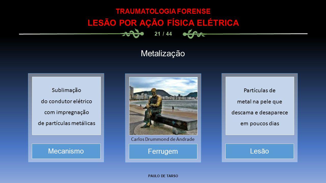 PAULO DE TARSO TRAUMATOLOGIA FORENSE LESÃO POR AÇÃO FÍSICA ELÉTRICA 21 / 44 Metalização Ferrugem Carlos Drummond de Andrade MecanismoLesão Sublimação