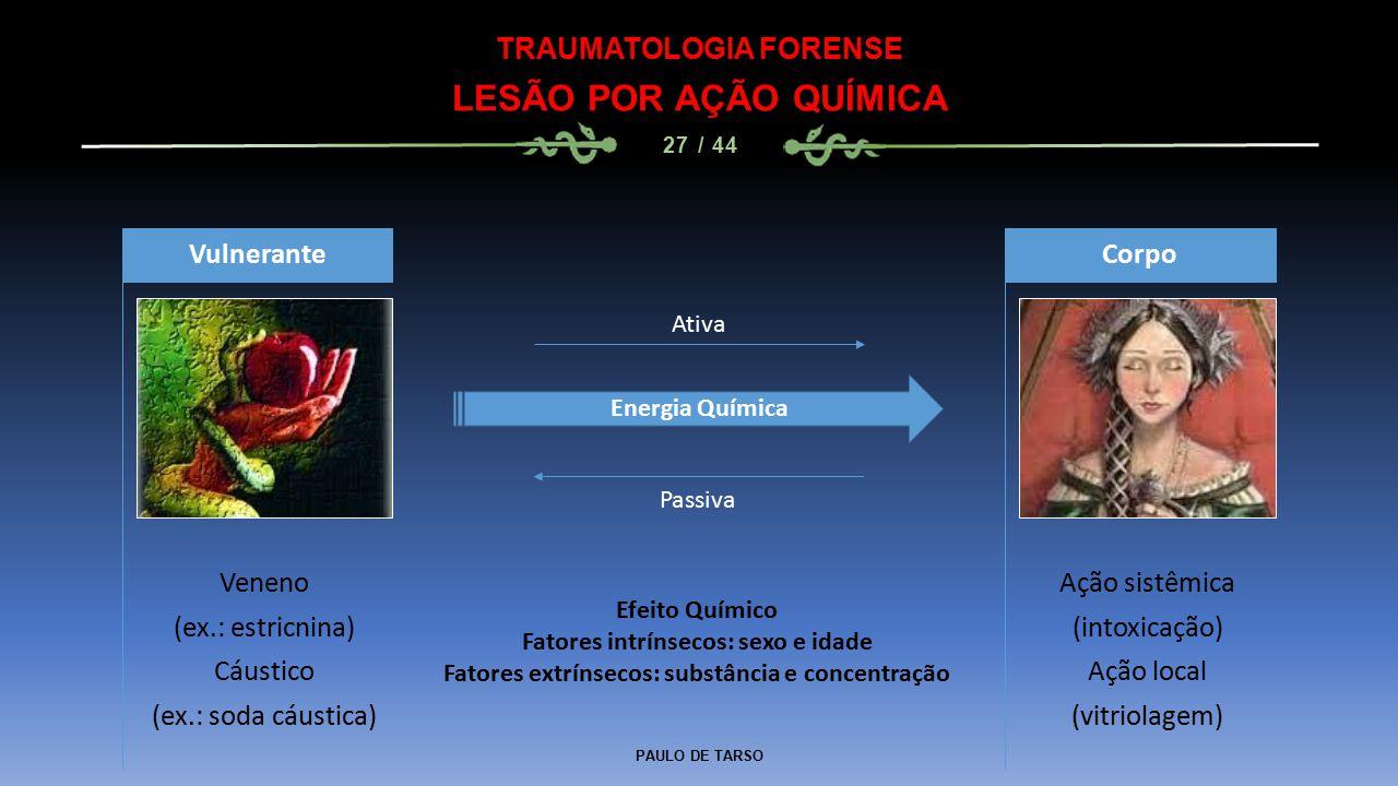 PAULO DE TARSO TRAUMATOLOGIA FORENSE LESÃO POR AÇÃO QUÍMICA 27 / 44 Veneno (ex.: estricnina) Cáustico (ex.: soda cáustica) Vulnerante Ação sistêmica (