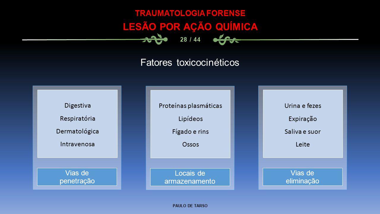 PAULO DE TARSO TRAUMATOLOGIA FORENSE LESÃO POR AÇÃO QUÍMICA 28 / 44 Fatores toxicocinéticos Locais de armazenamento Vias de penetração Vias de elimina