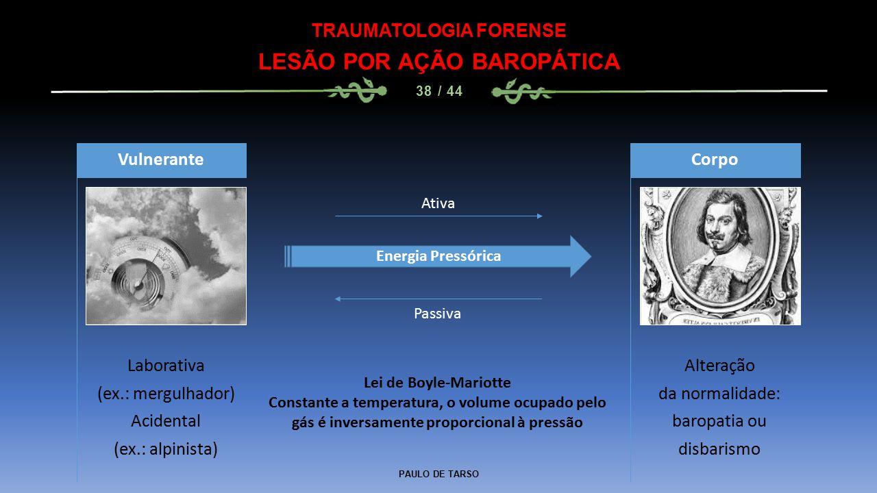 PAULO DE TARSO TRAUMATOLOGIA FORENSE LESÃO POR AÇÃO BAROPÁTICA 38 / 44 Laborativa (ex.: mergulhador) Acidental (ex.: alpinista) Vulnerante Alteração d