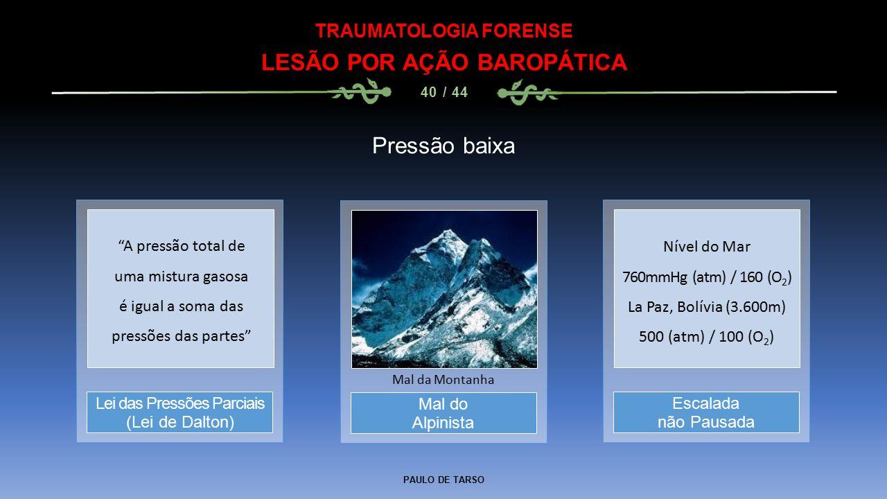 PAULO DE TARSO TRAUMATOLOGIA FORENSE LESÃO POR AÇÃO BAROPÁTICA 40 / 44 Pressão baixa Mal do Alpinista Mal da Montanha Lei das Pressões Parciais (Lei de Dalton) Escalada não Pausada A pressão total de uma mistura gasosa é igual a soma das pressões das partes Nível do Mar 760mmHg (atm) / 160 (O 2 ) La Paz, Bolívia (3.600m) 500 (atm) / 100 (O 2 )