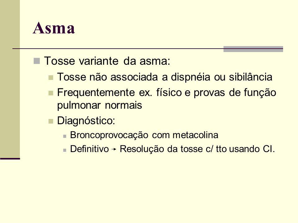 Asma Tosse variante da asma: Tosse não associada a dispnéia ou sibilância Frequentemente ex. físico e provas de função pulmonar normais Diagnóstico: B