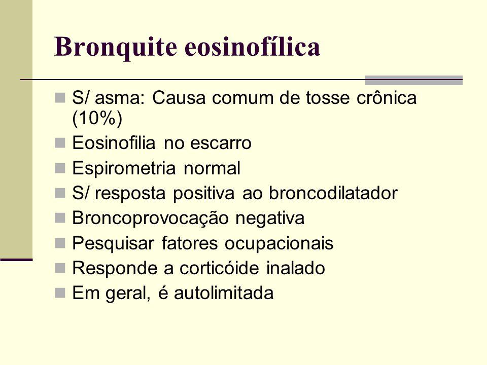 Bronquite eosinofílica S/ asma: Causa comum de tosse crônica (10%) Eosinofilia no escarro Espirometria normal S/ resposta positiva ao broncodilatador