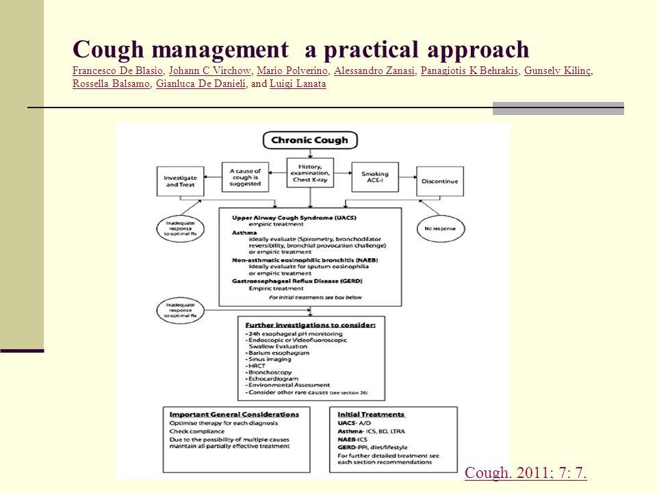 Cough management a practical approach Francesco De Blasio, Johann C Virchow, Mario Polverino, Alessandro Zanasi, Panagiotis K Behrakis, Gunsely Kilinç