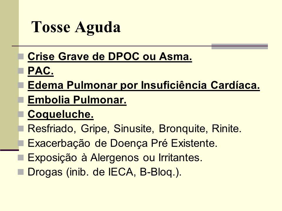 Tosse Aguda Crise Grave de DPOC ou Asma. PAC. Edema Pulmonar por Insuficiência Cardíaca. Embolia Pulmonar. Coqueluche. Resfriado, Gripe, Sinusite, Bro