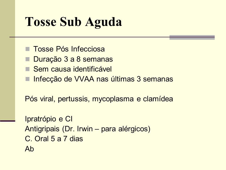 Tosse Sub Aguda Tosse Pós Infecciosa Duração 3 a 8 semanas Sem causa identificável Infecção de VVAA nas últimas 3 semanas Pós viral, pertussis, mycopl