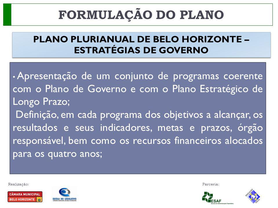 Realização: Parceria: FORMULAÇÃO DO PLANO Apresentação de um conjunto de programas coerente com o Plano de Governo e com o Plano Estratégico de Longo
