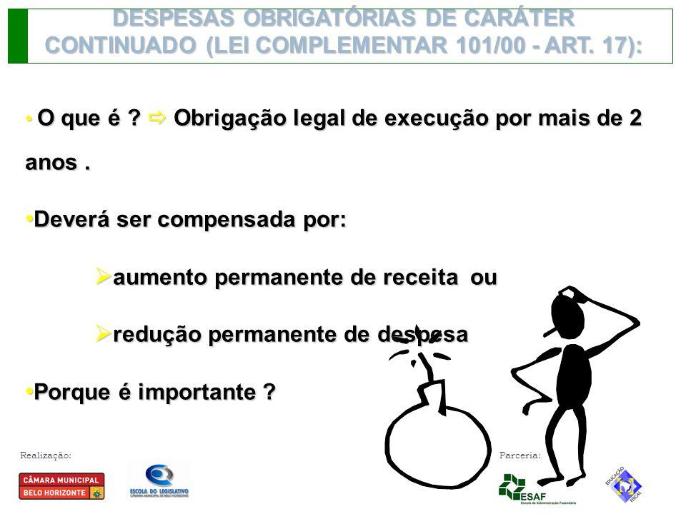 Realização: Parceria: DESPESAS OBRIGATÓRIAS DE CARÁTER CONTINUADO (LEI COMPLEMENTAR 101/00 - ART. 17): O que é ?  Obrigação legal de execução por mai