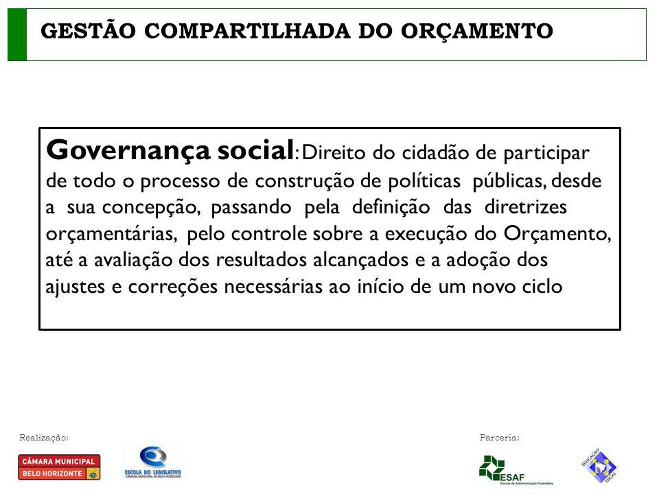 Realização: Parceria: GESTÃO COMPARTILHADA DO ORÇAMENTO Governança social : Direito do cidadão de participar de todo o processo de construção de polít