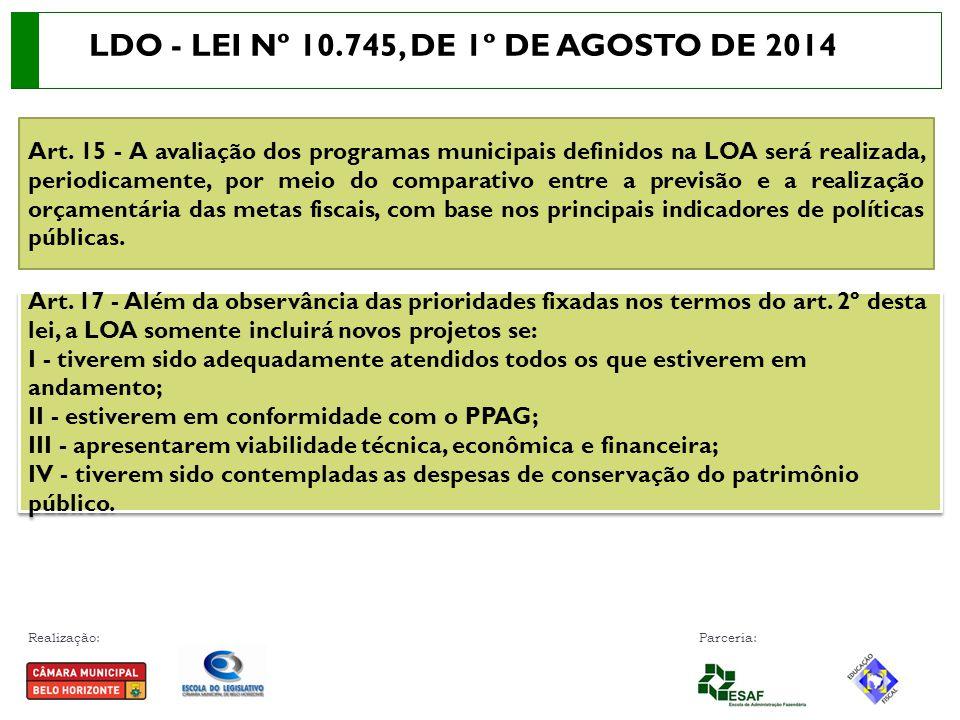 Realização: Parceria: Art. 15 - A avaliação dos programas municipais definidos na LOA será realizada, periodicamente, por meio do comparativo entre a