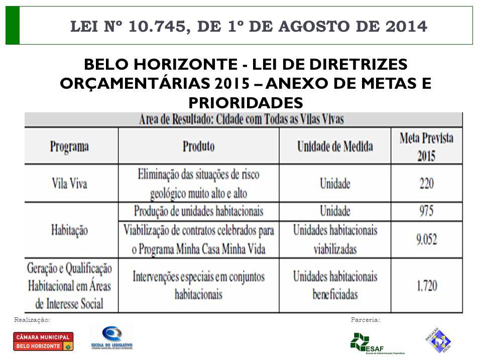 Realização: Parceria: LEI Nº 10.745, DE 1º DE AGOSTO DE 2014 BELO HORIZONTE - LEI DE DIRETRIZES ORÇAMENTÁRIAS 2015 – ANEXO DE METAS E PRIORIDADES