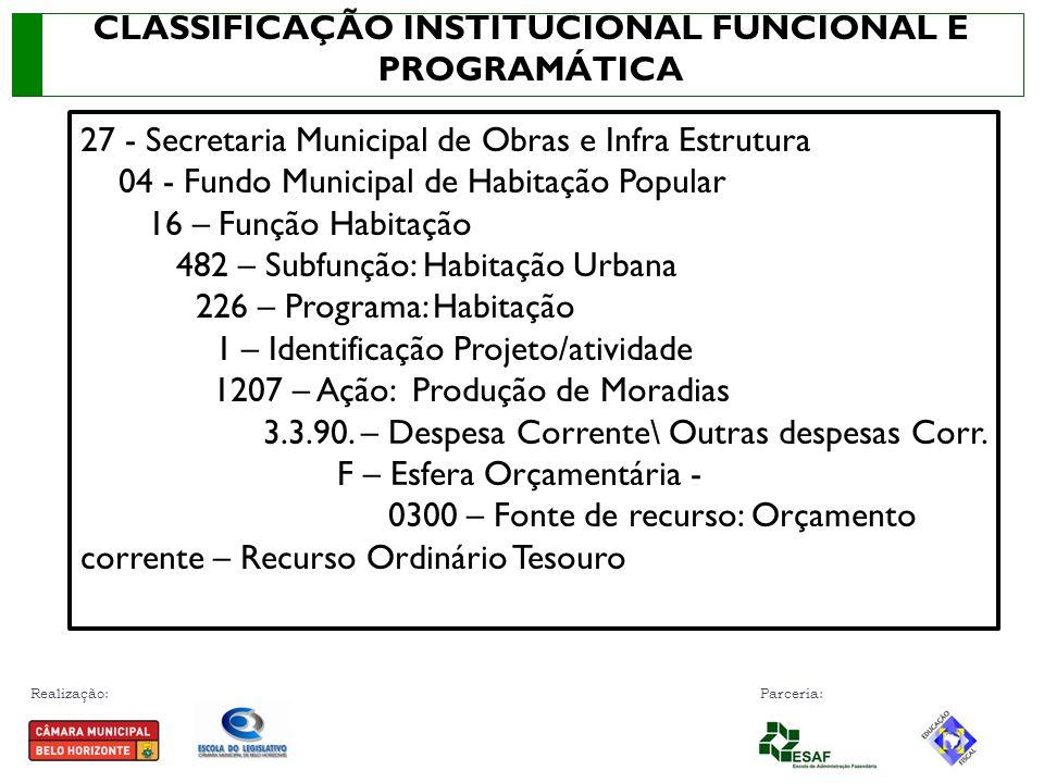 Realização: Parceria: 27 - Secretaria Municipal de Obras e Infra Estrutura 04 - Fundo Municipal de Habitação Popular 16 – Função Habitação 482 – Subfu