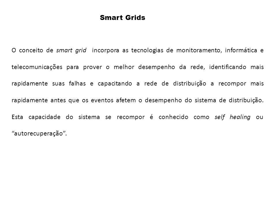 O conceito de smart grid incorpora as tecnologias de monitoramento, informática e telecomunicações para prover o melhor desempenho da rede, identifica