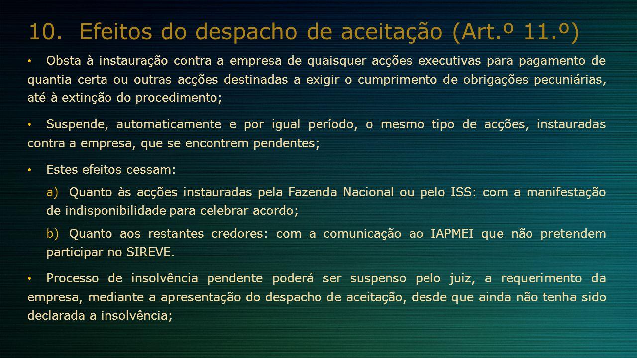 10.Efeitos do despacho de aceitação (Art.º 11.º) Obsta à instauração contra a empresa de quaisquer acções executivas para pagamento de quantia certa o