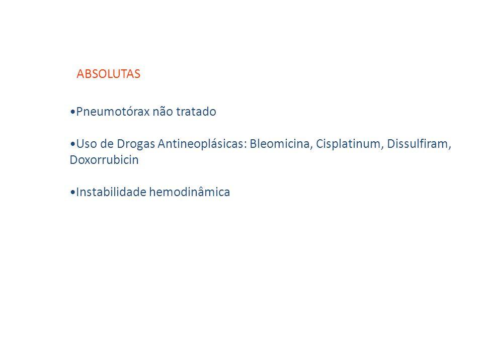 Pneumotórax não tratado Uso de Drogas Antineoplásicas: Bleomicina, Cisplatinum, Dissulfiram, Doxorrubicin Instabilidade hemodinâmica ABSOLUTAS