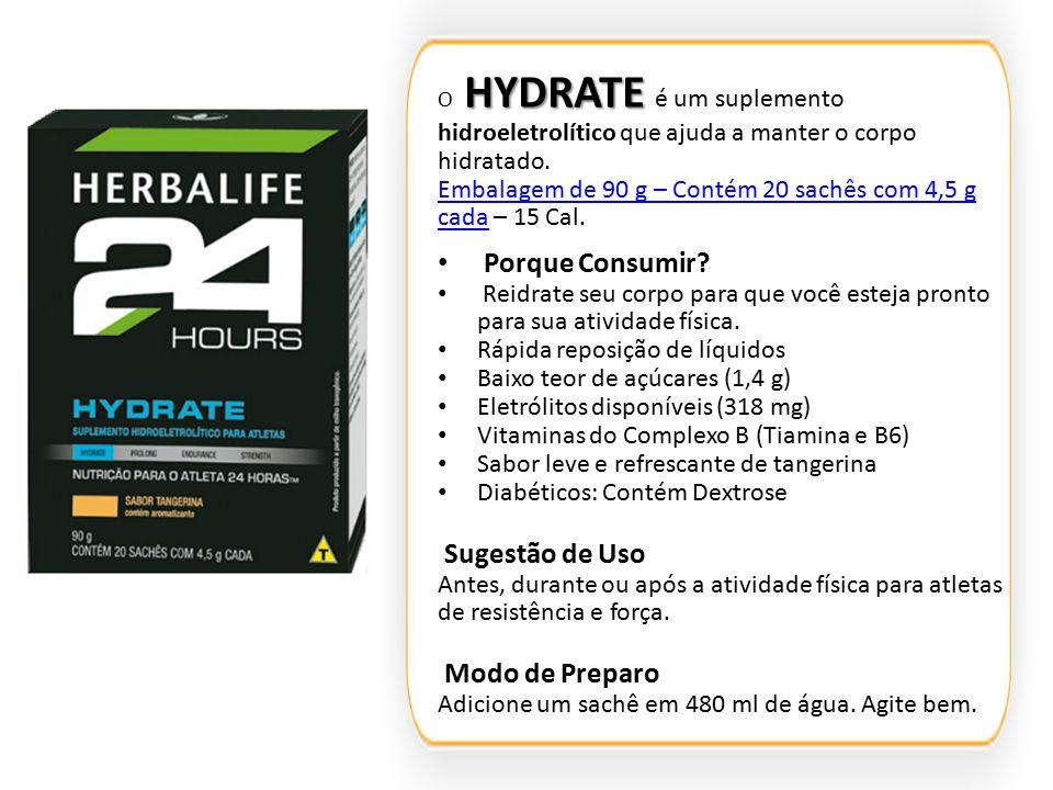 HYDRATE O HYDRATE é um suplemento hidroeletrolítico que ajuda a manter o corpo hidratado. Embalagem de 90 g – Contém 20 sachês com 4,5 g cadaEmbalagem