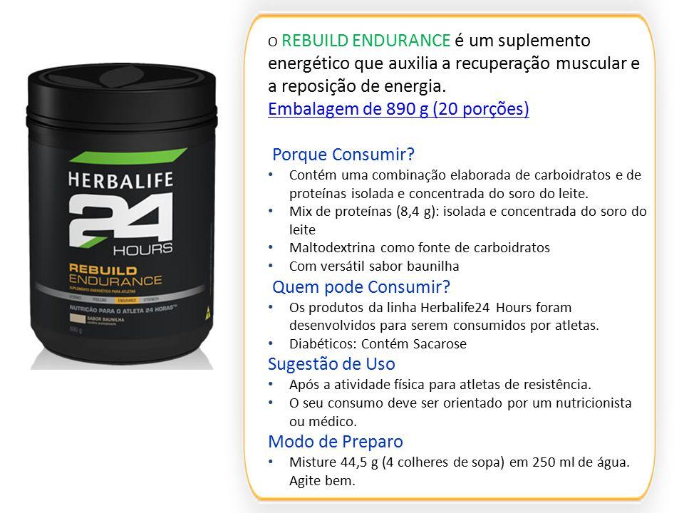 O REBUILD ENDURANCE é um suplemento energético que auxilia a recuperação muscular e a reposição de energia. Embalagem de 890 g (20 porções) Embalagem