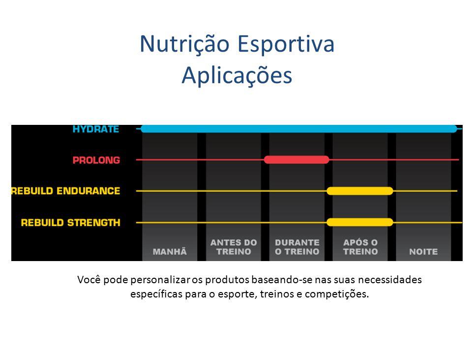Você pode personalizar os produtos baseando-se nas suas necessidades específicas para o esporte, treinos e competições. Nutrição Esportiva Aplicações
