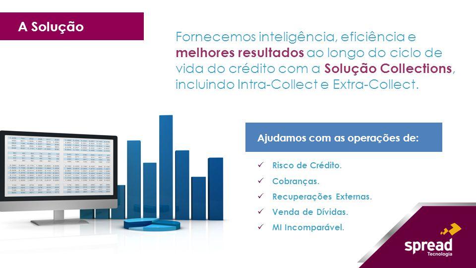 Fornecemos inteligência, eficiência e melhores resultados ao longo do ciclo de vida do crédito com a Solução Collections, incluindo Intra-Collect e Ex
