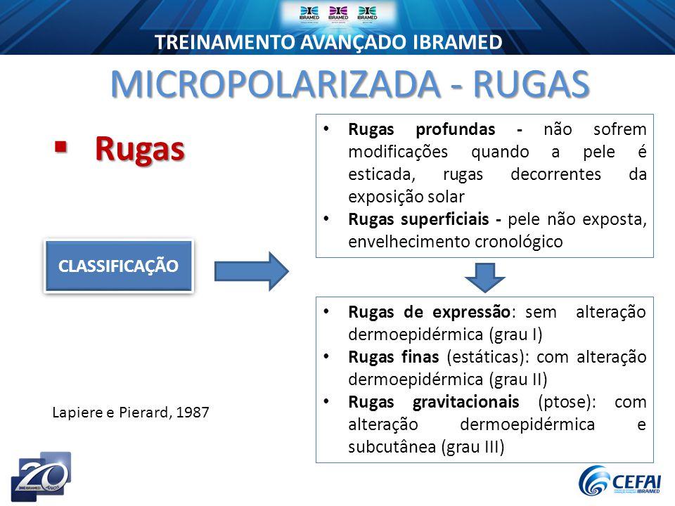 TREINAMENTO AVANÇADO IBRAMED  Rugas MICROPOLARIZADA - RUGAS CLASSIFICAÇÃO Rugas de expressão: sem alteração dermoepidérmica (grau I) Rugas finas (estáticas): com alteração dermoepidérmica (grau II) Rugas gravitacionais (ptose): com alteração dermoepidérmica e subcutânea (grau III) Rugas profundas - não sofrem modificações quando a pele é esticada, rugas decorrentes da exposição solar Rugas superficiais - pele não exposta, envelhecimento cronológico Lapiere e Pierard, 1987