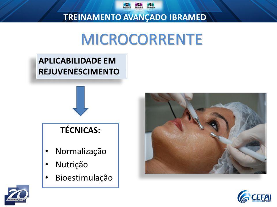 TREINAMENTO AVANÇADO IBRAMED TÉCNICAS: Normalização Nutrição Bioestimulação MICROCORRENTE APLICABILIDADE EM REJUVENESCIMENTO