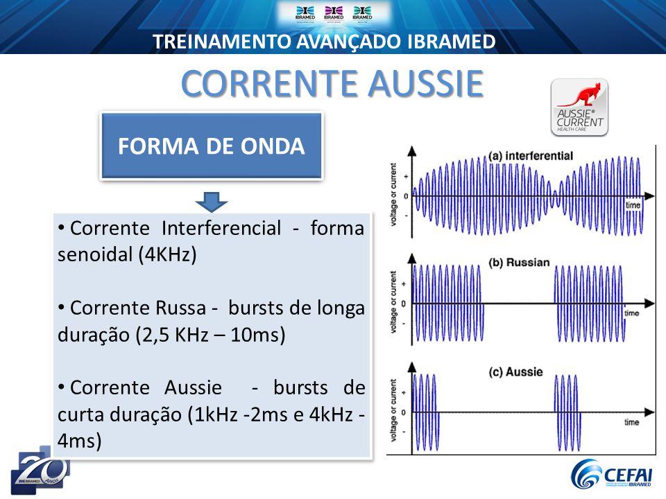 TREINAMENTO AVANÇADO IBRAMED Corrente Interferencial - forma senoidal (4KHz) Corrente Russa - bursts de longa duração (2,5 KHz – 10ms) Corrente Aussie - bursts de curta duração (1kHz -2ms e 4kHz - 4ms) Corrente Interferencial - forma senoidal (4KHz) Corrente Russa - bursts de longa duração (2,5 KHz – 10ms) Corrente Aussie - bursts de curta duração (1kHz -2ms e 4kHz - 4ms) CORRENTE AUSSIE FORMA DE ONDA