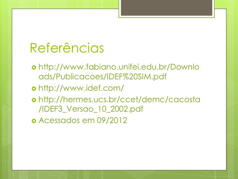 Referências  http://www.fabiano.unifei.edu.br/Downlo ads/Publicacoes/IDEF%20SIM.pdf  http://www.idef.com/  http://hermes.ucs.br/ccet/demc/cacosta /
