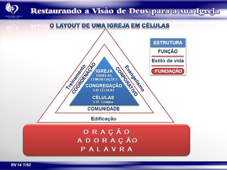 RV 14 T/S2 Treinamento COORDENAÇÃO CORPORATIVO Evangelismo Edificação COMUNIDADE IGREJA TODAS AS CONGREGAÇÕES CONGREGAÇÃO 5-25 CÉLULAS CÉLULAS 5-15 Cr
