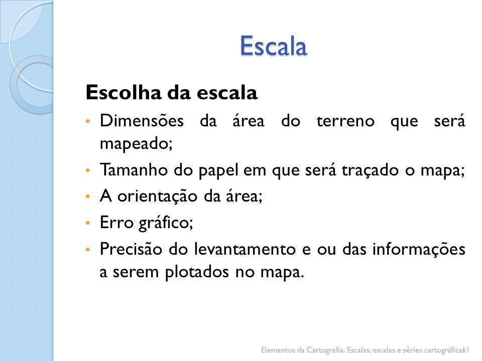 Escala Escolha da escala Dimensões da área do terreno que será mapeado; Tamanho do papel em que será traçado o mapa; A orientação da área; Erro gráfic