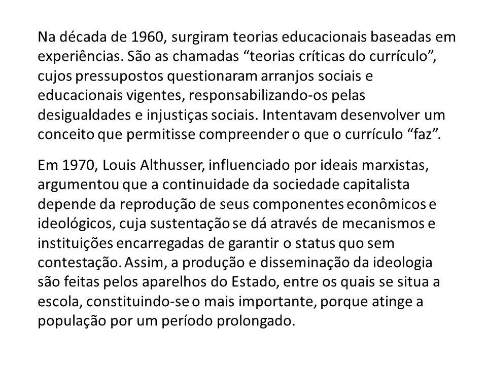 """Na década de 1960, surgiram teorias educacionais baseadas em experiências. São as chamadas """"teorias críticas do currículo"""", cujos pressupostos questio"""