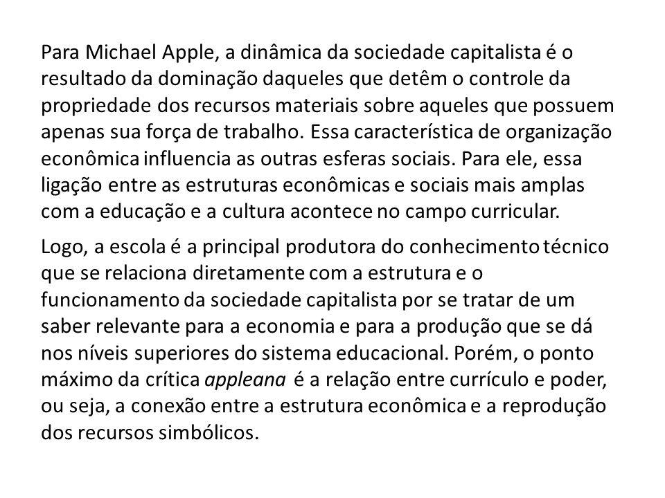 Para Michael Apple, a dinâmica da sociedade capitalista é o resultado da dominação daqueles que detêm o controle da propriedade dos recursos materiais