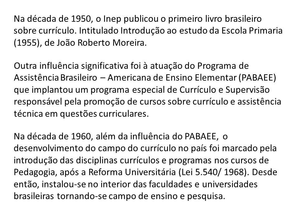 Na década de 1950, o Inep publicou o primeiro livro brasileiro sobre currículo. Intitulado Introdução ao estudo da Escola Primaria (1955), de João Rob