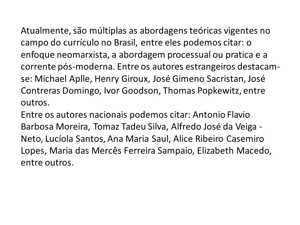 Atualmente, são múltiplas as abordagens teóricas vigentes no campo do currículo no Brasil, entre eles podemos citar: o enfoque neomarxista, a abordage