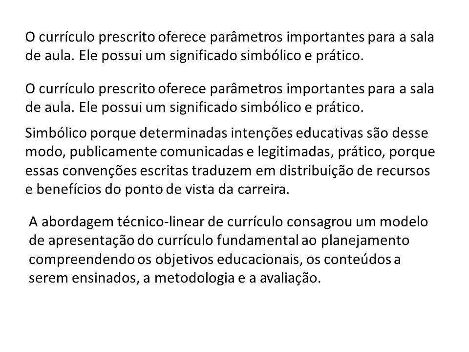 O currículo prescrito oferece parâmetros importantes para a sala de aula. Ele possui um significado simbólico e prático. Simbólico porque determinadas