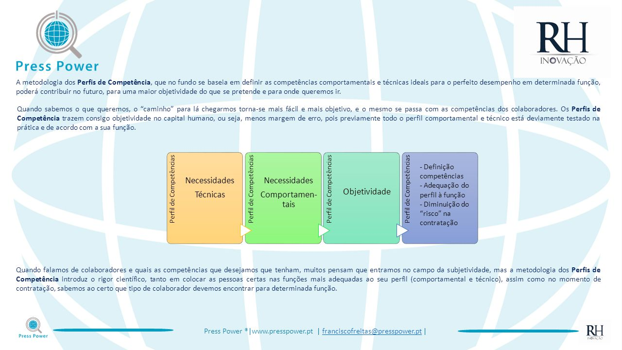 Press Power ®|www.presspower.pt | franciscofreitas@presspower.pt |franciscofreitas@presspower.pt A metodologia dos Perfis de Competência, que no fundo