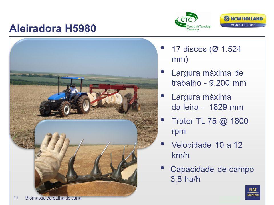 Date Biomassa da palha de cana 11 Aleiradora H5980 17 discos (Ø 1.524 mm) Largura máxima de trabalho - 9.200 mm Largura máxima da leira - 1829 mm Trat