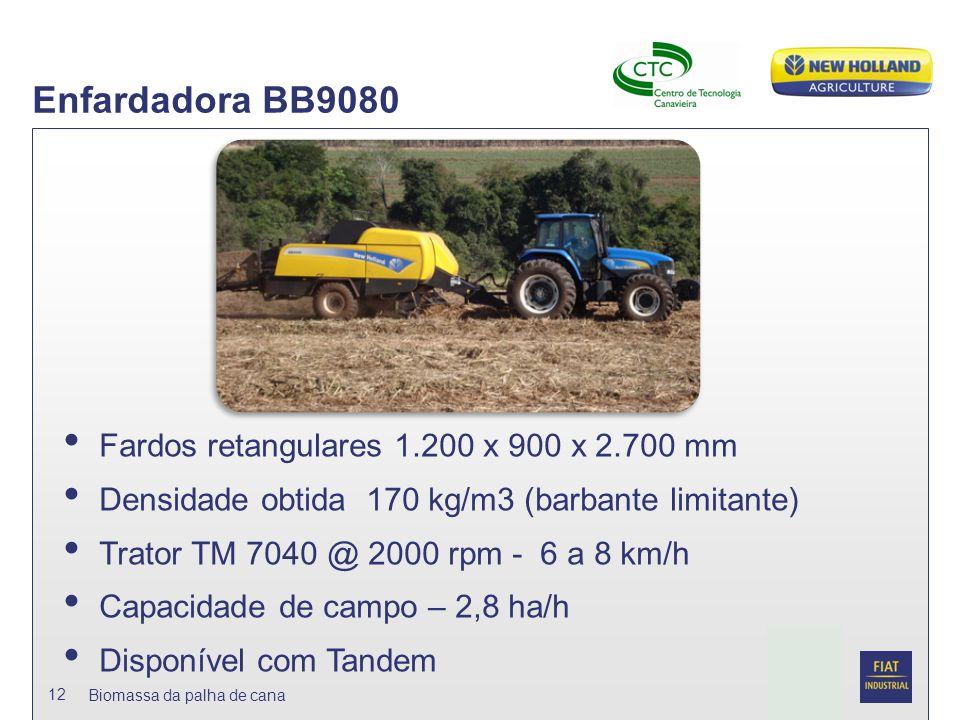 Date Biomassa da palha de cana 12 Enfardadora BB9080 Fardos retangulares 1.200 x 900 x 2.700 mm Densidade obtida 170 kg/m3 (barbante limitante) Trator