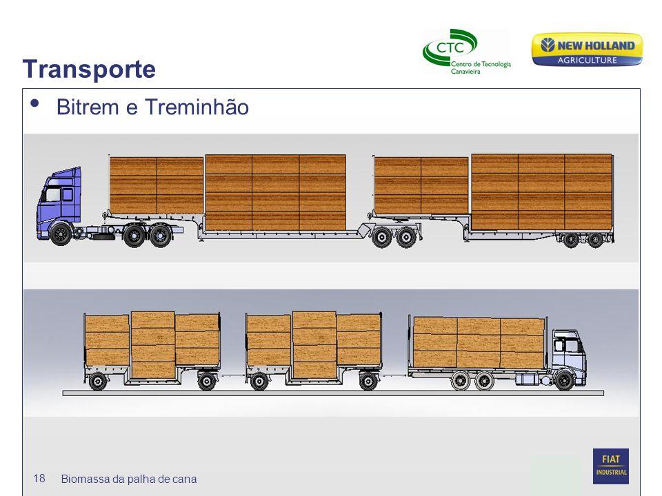 Date Transporte Bitrem e Treminhão 18 Biomassa da palha de cana