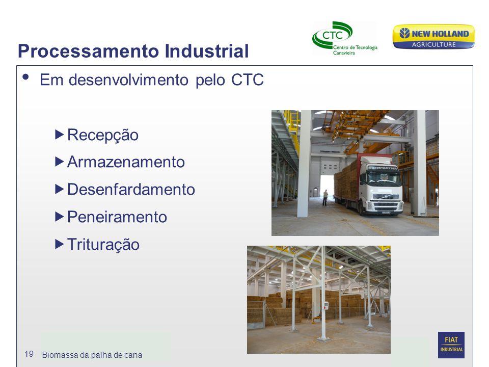 Date Biomassa da palhja de cana 19 Processamento Industrial Em desenvolvimento pelo CTC  Recepção  Armazenamento  Desenfardamento  Peneiramento 