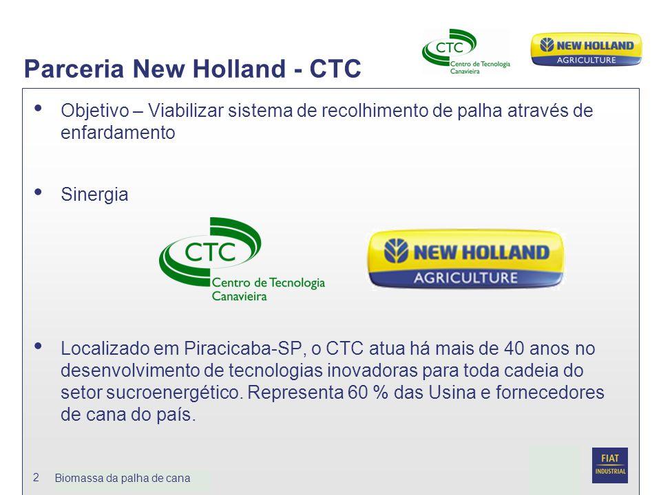 Date Biomassa da palhja de cana 2 Parceria New Holland - CTC Objetivo – Viabilizar sistema de recolhimento de palha através de enfardamento Sinergia L