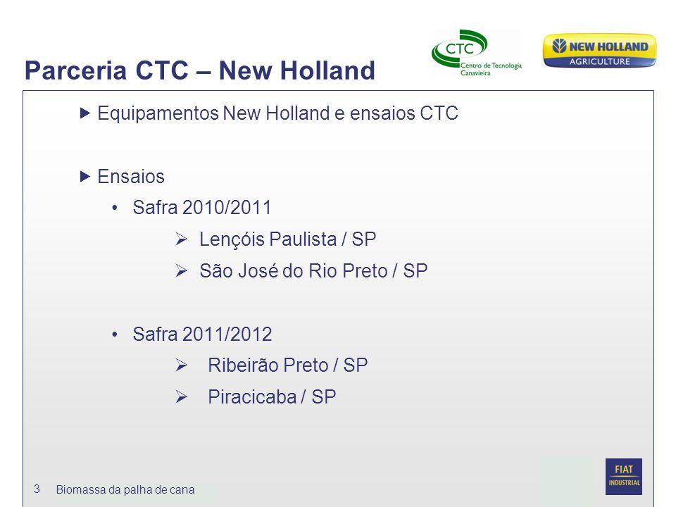 Date Biomassa da palhja de cana 3 Parceria CTC – New Holland  Equipamentos New Holland e ensaios CTC  Ensaios Safra 2010/2011  Lençóis Paulista / S